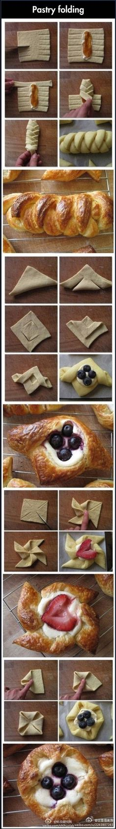 folded pastries Köstliche Desserts, Delicious Desserts, Dessert Recipes, Yummy Food, Awesome Desserts, Fun Recipes, Plated Desserts, Recipe Ideas, Pastries