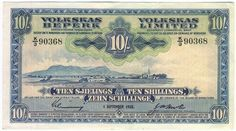 South West Africa Volkskas limited 10 Shillings banknote - 1 September 1958 - gum residue on reverse