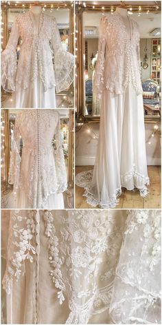 Antique lace bohemian wedding dress with romantic silk chiffon skirt and long poet sleeves perfect for a relaxed summer festival celebration