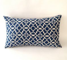 10x20 Bolster Decorative Pillow Moroccan Style- Lattice Print - Navy Blue & Off White. $20.00, via Etsy.