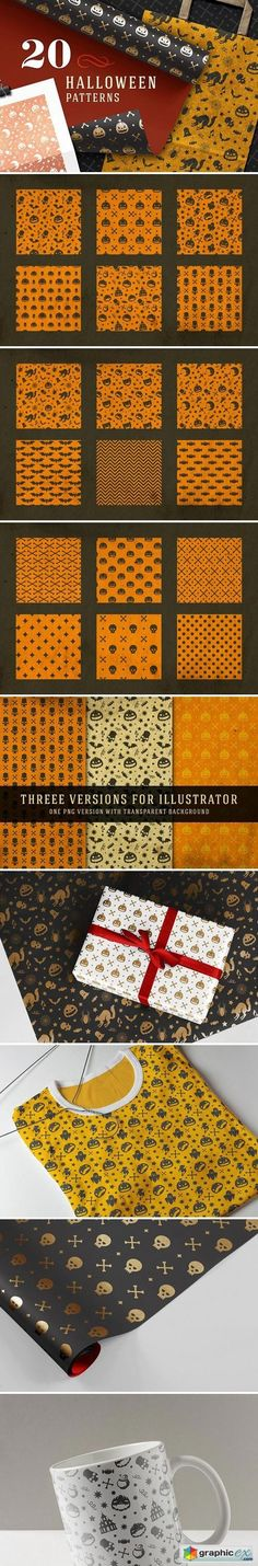 20 Halloween patterns  stock images