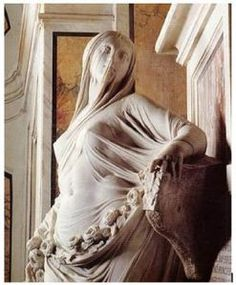 This statue shows a rather Junoesque, nude woman whom is covered from head to toe with a very thin veil of marble which depicts her form in every detail.  According to some, its allegorical meaning is that if you wish to possess knowledge you must first lift the veil which covers it.
