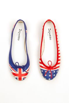 Today's So Shoe Me is the Exclusive Flag Ballerina Flats by Repetto, $295, available at Opening Ceremony. With the Olympics just days away it's only fitting that Opening Ceremony would collaborate with Repetto to create a fun and functional flat that offer a patriotic punch mixed with our friendly hosts across the pond.