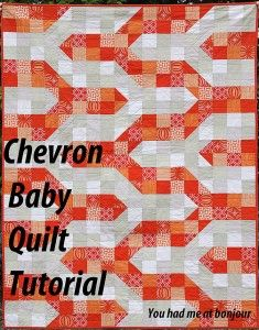 Chevron Baby Quilt on Flickr  here's where I took my inspiration. A manhole cover!! This pattern will produce a crib sized quilt (45 x 60 inches) for your baby-wrapping pleasure. You'll need to decide on two contrasting colors (I've gone tangerine and a beige/taupe) and then assemble some fabrics....