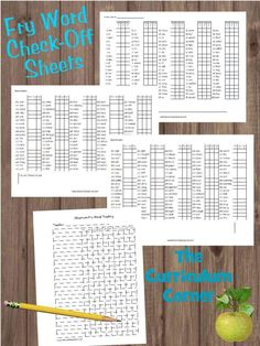 Use these Fry Word progress lists to help track student growth over the year. These are great to add to data binders! Free from The Curriculum Corner.