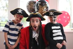 Pirate party theme ideas. Hire a real pirate for your boys birthday! Captain Crunch from Cornflake's Magic World