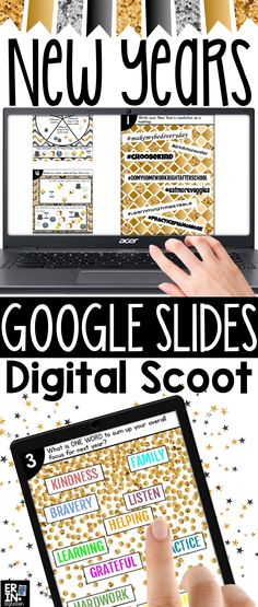 New Years 2017 Google Slides Digital Scoot game features resolutions, #onelittleword and various survey question for students to answer with text, images, and/or a New Year's Eve themed Emoji on ANY device with Google Slides (iPads, Chromebooks, and more)! Instead of a paper task card, students set up a template on Google Slides then scoot from computer to computer responding to New Year's Eve themed questions with text, images, and/or Emojis