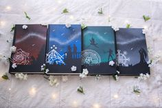 """mrs-emma-swan-jones:"""" And here they all are! The completed trilogy + the novelette. These were so much fun to do and I'm thrilled with how they all turned out! If you're interested at all in how I. A Court Of Wings And Ruin, A Court Of Mist And Fury, Roses Book, Feyre And Rhysand, Sarah J Maas Books, Book Aesthetic, Painted Books, Book Cover Art, Throne Of Glass Series"""