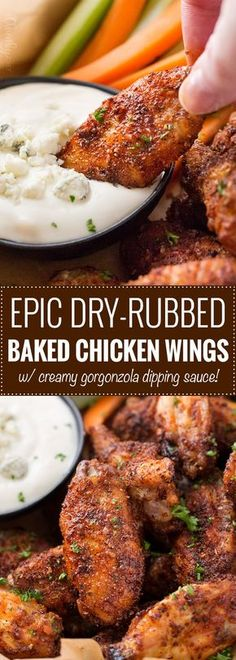 Epic Dry-Rubbed Baked Chicken Wings   Extremely tender and juicy, these baked chicken wings are rubbed with the most epic dry rub made right from your spice cabinet! You won't miss the deep fryer or the sauce, I guarantee it!!   The Chunky Chef   #chickenwings #chickenwingrecipes #bakedhotwings #bakedwings #dryrub #gamedayfood #partyfood