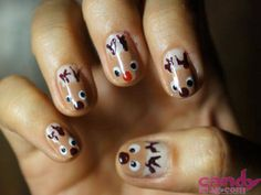 Paint Santa's furry helpers on your tips for a touch of holiday cheer! Holiday Nail Art, Reindeer, Cheer, How To Make, Beauty, Humor, Beauty Illustration, Cheerleading, Cheer Athletics
