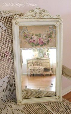 Trumeau mirror w/ french swag of roses ~ C.Repasy