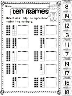 Ten Frames Cut and Paste for loads of St. Patrick's Day math fun!