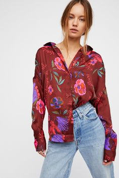 Cranberry Silky Nights Buttondown at Free People Clothing Boutique