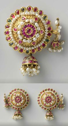 Pair of Earrings -- Circa 1750 -- India -- Gold, pearls & precious stones. I Love Jewelry, Tribal Jewelry, Pearl Jewelry, Gold Jewelry, Jewelery, Fine Jewelry, Jewelry Design, India Jewelry, Temple Jewellery