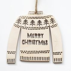 Christmas Jumper christmas tree decoration. laser cut wood. festive homeware.