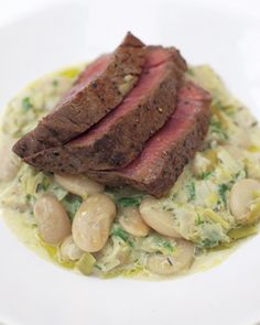 grilled fillet steak with the creamiest white beans and leeks.... Id skip the steak but the rest sounds great