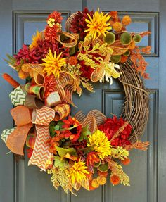 Fall Floral Wreath - Autumn Floral Wreath - Fall Wreath - Autumn Wreath
