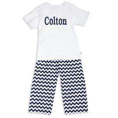 Boy's White Cotton Small Navy Chevron Pant Set