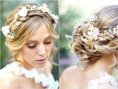 Floral-Design Headband with Braided Hair - 18 Best Wedding Hairstyles for Women with Thin Hair - EverAfterGuide