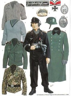 World War II German Motorized Infantry & Panzergrenadiers Ww2 Uniforms, German Uniforms, German Soldiers Ww2, German Army, Military Art, Military History, Luftwaffe, Tarin, Military Drawings