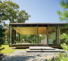 LM Guest House by Desai Chia Architecture in Dutchess County, New York, USA a tribute to Mies van der Rohe's Farnsworth House Residential Architecture, Contemporary Architecture, Architecture Design, Modern Glass House, Glass House Design, Casas Containers, Steel House, Interior Design Magazine, Mid Century House