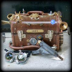 Steampunk Apocalyptic Trunk purse-goggles-gun-Victorian pocket watch parts skull Gothic key charm Pirate necklace locket  love wicca quirky $99.00