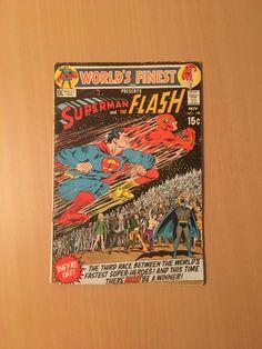 World's Finest GD/VG Superman/Flash race by OldGothamComics on Etsy Batman Comics, Gd, Superman, World, Handmade, Etsy, Hand Made, Craft, Peace
