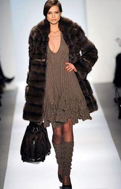 Dennis Basso ~ dress & leg-warmers (minus the coat)