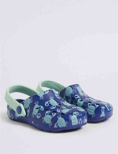 Buy the Kids' Crab Print Cloggs Small - 12 Small) from Marks and Spencer's range. Origin Shop, Kids Clogs, Cotton Lingerie, Suit Shop, Swimming Costume, Designer Sandals, Beach Sandals, Sun Hats, Style Guides