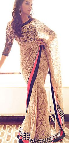 Simply gorgeous Peachy/Off-White Lace Saree w/ Plain Pink & Black border -Gives it a sense of Elegance, Chic and Class