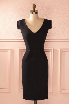 8bb62b4cbbd Sybille - Black fitted midi V-neck dress