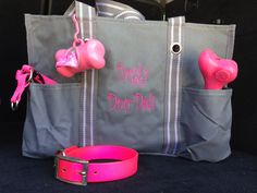 Doggy Doo-Dads! perfect storage solution for dog supplies! features multiple exterior pockets for holding toys, treats, leashes. Grommet is perfect place to clip your doggy-doo bag dispenser. Organizing Utility Tote in Spirit Grey. Embroidery in Hot Pink font #12. Shop now at www.mythirtyone.c...