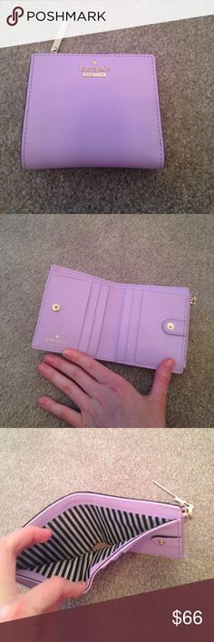 Kate spade adalyn wallet in lilac cream This gorgeous wallet can fit six credit cards plus the back Id holder. Can fit bills and has a change compartment. This wallet is made of durable saffiano leather. Never used, I bought this wallet and it was too small for me. Love this light purple shade! Comes with care card and original boutique card. kate spade Bags Wallets