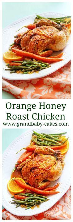 Delicious Orange Honey Roast Chicken - perfect for Spring! ~ http://www.grandbaby-cakes.com