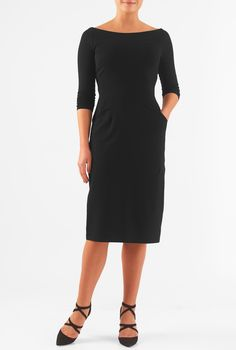 A wide boat neckline give our feminine sheath a decidedly retro feel, with a seamed waist setting off a slim skirt.