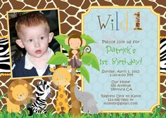 Safari Jungle Animals Birthday Invitation Wild One- DIY Print Your Own - Matching Party Printables available First Birthday Party Themes, Baby Boy 1st Birthday, 1st Birthday Invitations, Boy Birthday Parties, Birthday Ideas, Jungle Party, Safari Party, Jungle Safari, Twins 1st Birthdays
