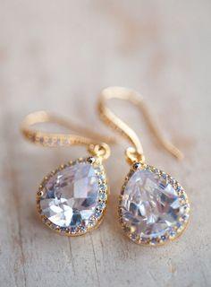 Drop earrings bridal jewelry gold earrings vintage earrings