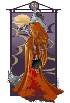 Kitsune.  I love everything about this.  The kitsune fox women,  the severed head she holds, or the nonchalant posture and look on her face as she casually puffs on her pipe