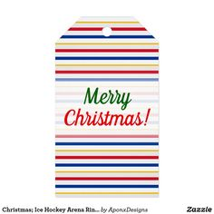 Ice Hockey Arena Rink-Inspired Stripes Gift Tags - merry christmas diy xmas present gift idea family holidays Holiday Gift Tags, Christmas Tag, Hockey Gifts, Yule Decorations, Custom Ribbon, Personalized Gift Tags, Ice Hockey, Gifts For Kids, Merry Christmas