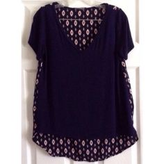 Mixed Material Hi-Lo Top Navy mixed material hi-lo v-neck top. Purchased from Stitch Fix. Care instructions and material content tag is no longer readable despite only being washed delicately a few times. Honey Punch Tops Tees - Short Sleeve
