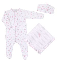 Magnolia Baby pima cotton sleepsuit layette set with footie sleepsuit, hat, and blanket. Great for gifts or your own baby! - See all layette and gift sets at Magnolia Baby Layette & Gift Sets - Set in