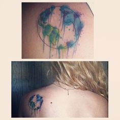 fa95e42ad Watercolor world tattoo shoulder blade earth soja Earth Tattoo, World Tattoo,  Pretty Tattoos,