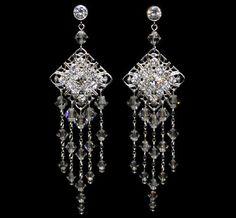 Crystal Diamante Filigree Bridal Earring by BejewelledByTracey, $45.00