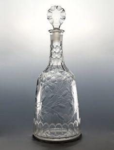 Decanters Antiques Antique Dutch Art Glass Decanter Carafe Bottle Engraved Blown Glass 18th C