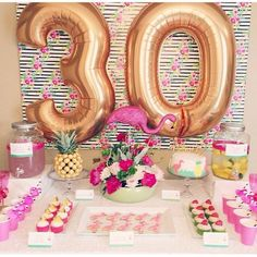 temas para fiestas de mujer 30th Birthday Themes, Happy 30th Birthday, Adult Birthday Party, Birthday Party Decorations, Birthday Ideas, Flamingo Birthday, Flamingo Party, Cupcake Arrangements, Happy Birthday Wishes Cards
