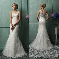 White lvory Wedding Dress Mermaid Bridal Gown Custom Size 2 4 6 8 10 12 14 16 18