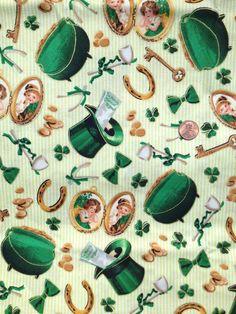 SHAMROCK chanceux D #71252, fête de la St-Patrick, irlandais, Horseshoe ~ Fat Quarter / FQ ~ tissu 100 % coton, pour Quilting et de l'artisanat