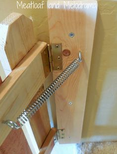 spring and hinges on pet gate -- brilliant, it doesn't latch, just stays shut with tension