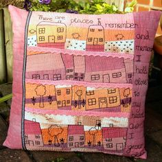 """""""Our House"""" Hand Embroidered Art Pillow."""
