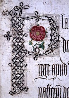 Lancastrian Rose by The National Archives UK on Flickr.  Lancastrian Rose ' Description: Coram Rege Roll of Henry VII. The roll records court proceedings that were supposed to be carried out before the king in person (coram rege), although that was rarely true. The rolls often include a portrait of the monarch as if to suggest this presence but here the red rose of Lancaster stands in for King Henry VII'. Date: 1500 The National Archives UK